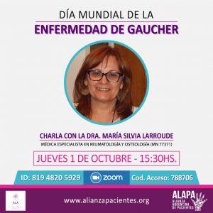 Flyer de la charla por el Día Mundial de la Enfermedad de Gaucher