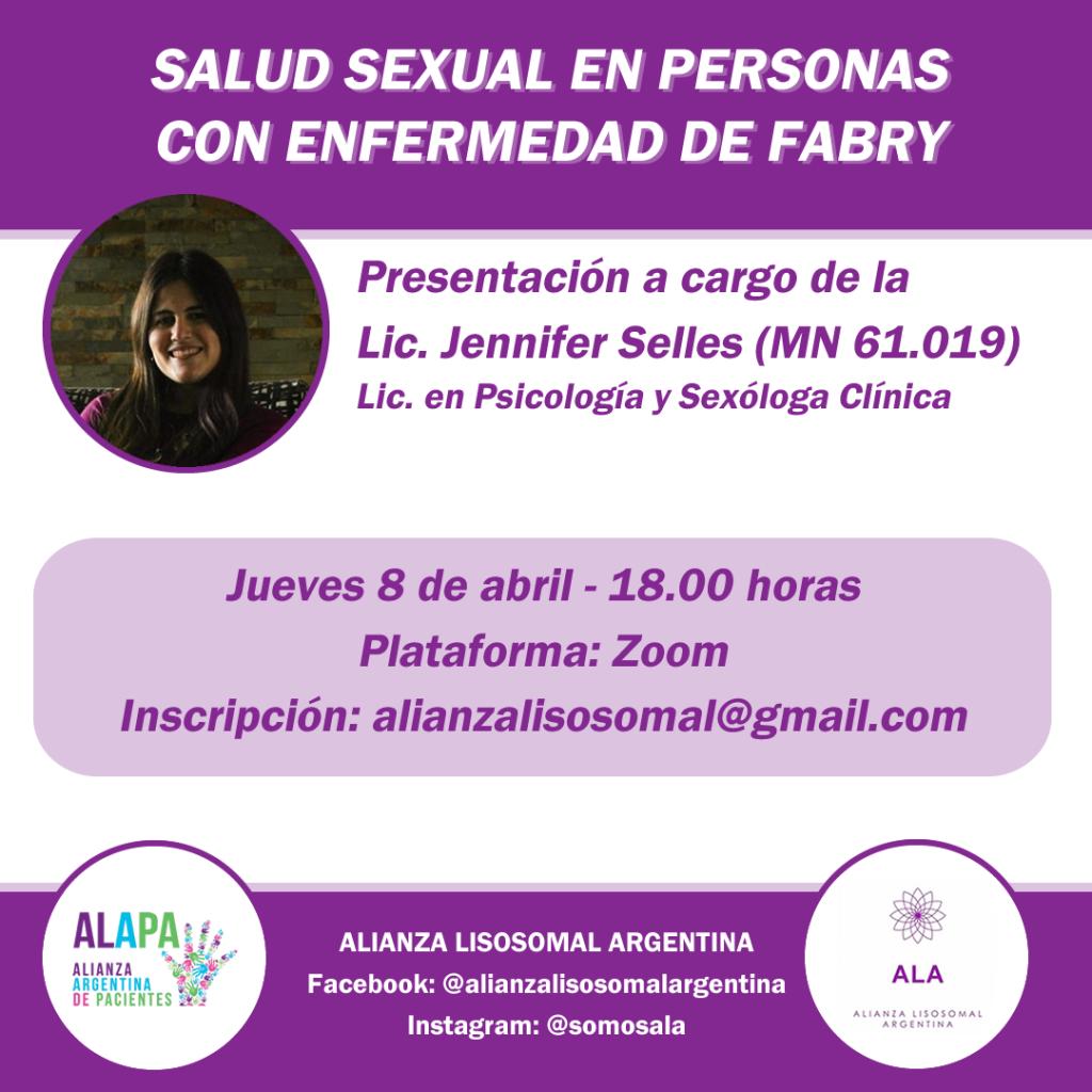 """Charla """"Salud Sexual en personas con enfermedad de Fabry"""""""